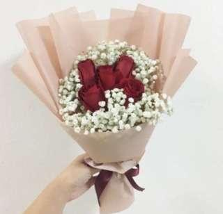 Red Roses with white baby breath / Birthday Bouquet / Anniversary / Flash Sale