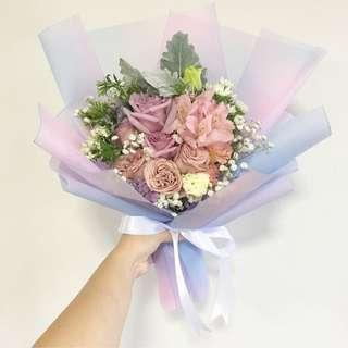 Pastel Bouquet in Purple Rose \ Dusty Pink Roses with Baby breath and mix fillers / Birthday Bouquet Flash Sale
