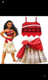 Instock moana costume set brand new size for 100-140cm(3-8yrs old) .. dress is $25 .. necklace w songs and lights available at $19.90 .. if take a set will be $42.90