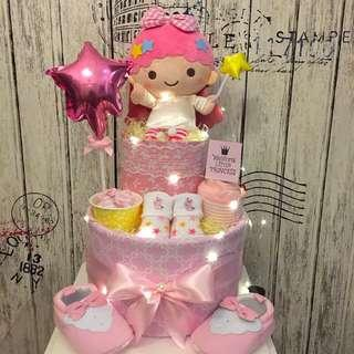 Little twin  Star 2-tier Baby Diaper Cake