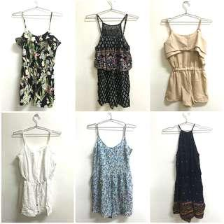 Topshop, Aeropostale, H&M Rompers for only 250 pesos each!