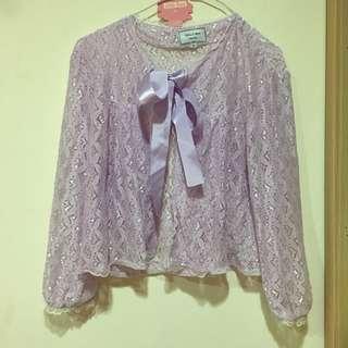 🚚 古著 紫色 蕾絲罩衫 有綁帶可綁蝴蝶結