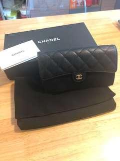 Chanel Wallet荔枝皮長銀包