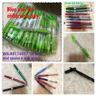 Writing pen, blue ink, various designs, from $0.50