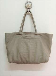 Taupe Gray Genuine Sofe Leather Tote Bag