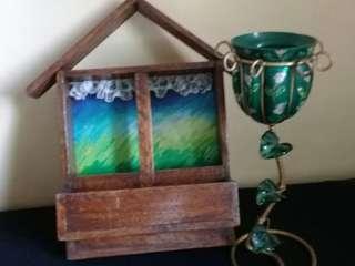 Framed window letter holder painting