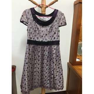 紫玉點點洋裝