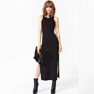Nasty gal Black Slit Dress