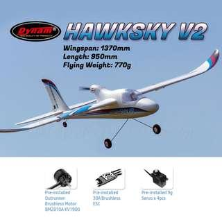 [Suitable for Beginner] DYNAM Hawksky V2 1370mm RC Airplane, Plug-and-Play, PNP. Code: DY8925-PNP