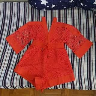 9771a7a2074 Orange Geometric Casual Playsuit