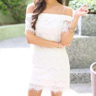 Topshop off white lace off shoulder dress