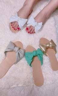 Trend ribbon slide slipper