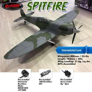 DYNAM Spitfire RC Electric Airplane, 900mm Wingspan, BM2810CD-KV1080 Brushless Motor, 18A ESC, 9g servo x 4pcs, Assembl required, Plug-and-Play, PNP. Code: DY8930-PNP