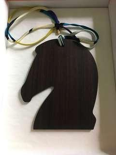 HERMES WOOD HORSE CHARM with SILK RIBBON