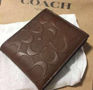 AUTHENTIC NEW COMPACT ID WALLET IN SIGNATURE LEATHER COACH F25753 SADDLE