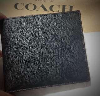 AUTHENTIC NEW COACH COMPACT ID WALLET COACH F25519 BLACK w/ OXBLOOD
