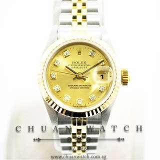 Pre-Owned Rolex Ladies' DateJust 26mm 69173 Champagne Sunburst Diamonds - Discontinued