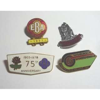 Vintage Metal LAWN BOWLS Badges 1978 - 1992 England EBA 75th Anniversary World Bowls 1992