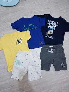 🚚 UNIQLO棉T/ 短褲 、 A&F 灰短褲(5件衣服一起賣-110 / 120號)