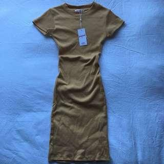 Mustard Fitted T-Shirt Dress