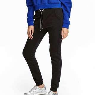 H&M black drawstring sweatpants joggers #3x100 #MidSep50