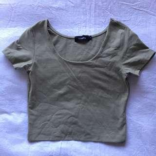 Khaki T-Shirt Crop Top