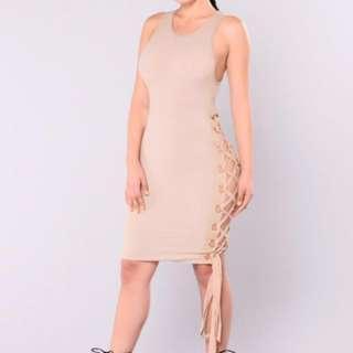 NEW WITH TAG FASHION NOVA trista ribbed almond dress