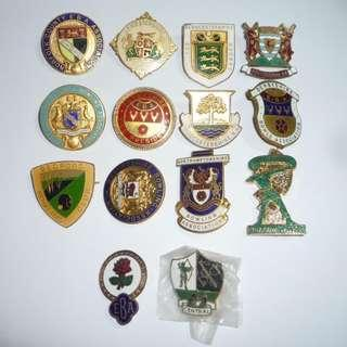 Vintage Metal LAWN BOWLS Badges 1976-1978 All Counties