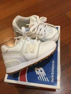 New Balance 574 white toddler shoes