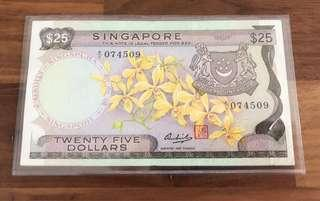 Raw $25 Orchid Singapore Notes