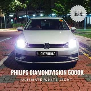 VW Golf MK5 MK6 MK7 on H7 philips diamondvision white halogen car headlight bulb + installation