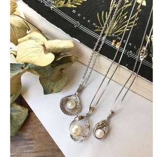Skin&Moss復古vintage日本製珍珠項鍊鎖骨鏈純銀項鍊貝殼項鍊