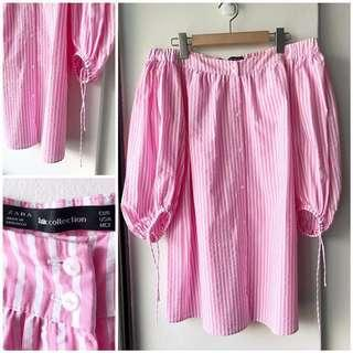 Zara off shoulder pink and white striped dress
