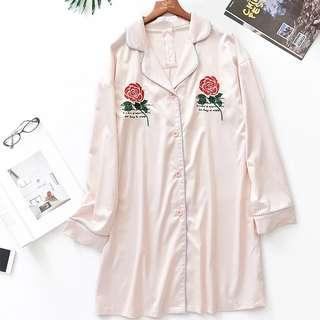 🚚 Instock Lady Rose Faux Silk Sleepwear