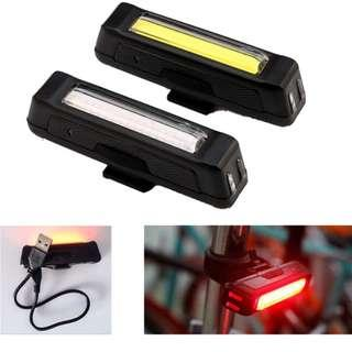 🚚 COMET USB Rechargeable Head/Tail Light COB High Brightness Dual Colors (Red & Blue) L ED 100 Lumens+ Cycling Bicycle Front/ Rear Bike Safety Warning Lights.