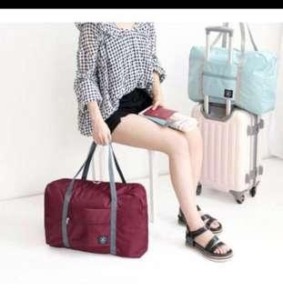 Korean Wine Red Foldable Cabin Bag Luggage Hand Carry Travel