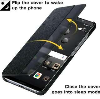 (1142) JASBON Huawei Mate 10 pro case Microfiber Genuine Leather Cover Mate 10 Business Men Protective Phone Case Cover for Huawei Mate 10 pro-Black