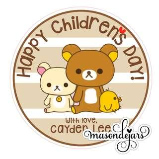 Children Day Sticker Labels Customised for goodie gift pack bag