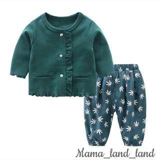 🍂🍁🍃Lovely spring baby cotton cardigan + leaf print PP pant @ Set