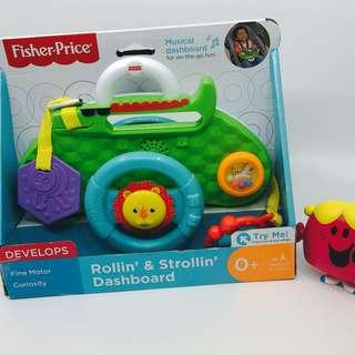 ~Ready Stocked~ Fisher-Price Rollin' & Strollin' musical Dashboard, stroller toy links with mirror and lion steering wheel