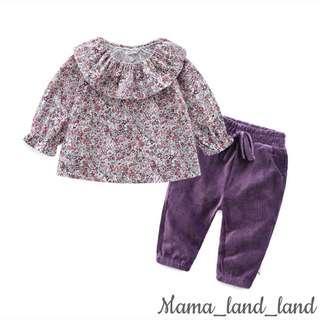 🍁🍂🍃Lovely floral purple floral print baby cotton top + corduroy pant @Set