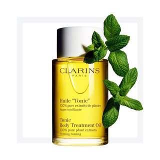* Free Clarins Body Scrub BNIB ClarinsTonic Body Treatment Oil