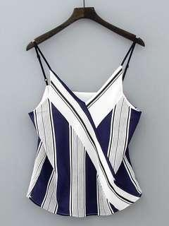 [SHEINSIDE] BLACK AND WHITE STRIPE ADJUSTABLE SINGLET