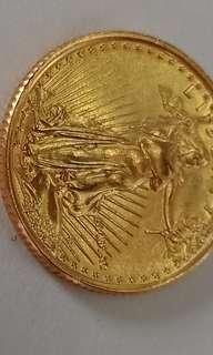 Mona Lisa and 5 Dollars Gold Coin 24k Gold