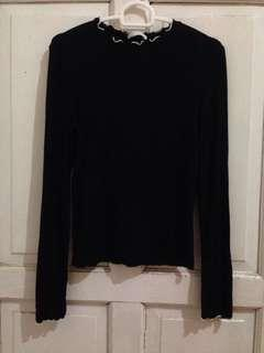 Zara contarst black long t shirt