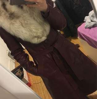 Genuine leather vintage coat
