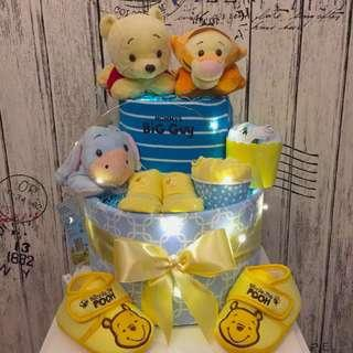Authentic Disney Pooh and Friends 2-tier Diaper Cake