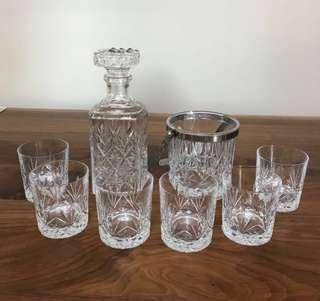Unique French Crystal Engraved Glass Set with Decanter & Ice Bucket