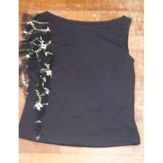 Black Sleeveless Embroidery Blouse #MidSep50