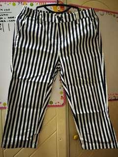 Blue White Stripes Quarter Pant